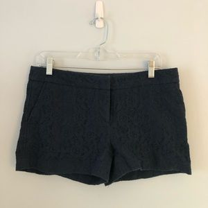 Navy blue shorts with lace detail